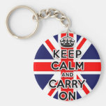 keep calm and carry on Union Jack flag Basic Round Button Key Ring