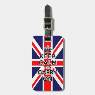 keep calm and carry on Union Jack flag Luggage Tag