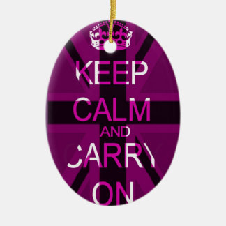 Keep calm and carry on union jack ornament