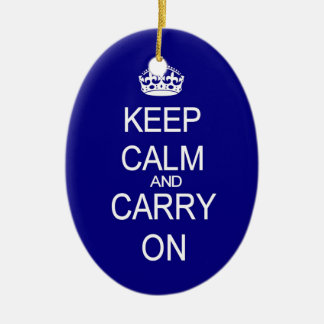 Keep calm and carry on vintage blue ornament