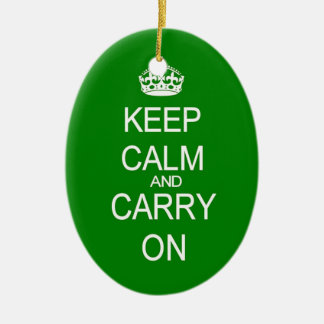 Keep calm and carry on vintage green ornament