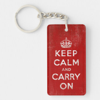 Keep Calm and Carry On, Vintage Rectangle Acrylic Keychains