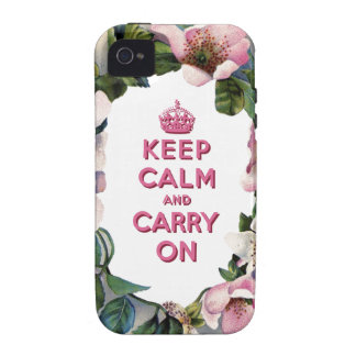 KEEP CALM AND CARRY ON VINTAGE PINK FLORAL Case-Mate iPhone 4 COVER
