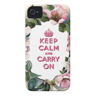KEEP CALM AND CARRY ON VINTAGE PINK FLORAL iPhone 4 Case-Mate CASES