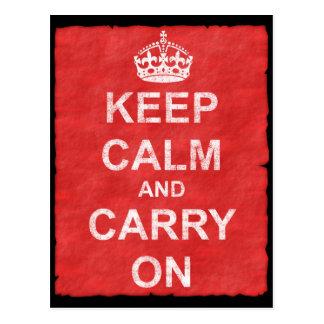 Keep Calm and Carry On Vintage Postcard