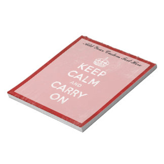 Keep Calm and Carry On, Vintage Red and White Notepad
