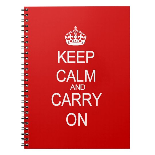 Keep Calm and Carry On Vintage Red Spiral Notebook