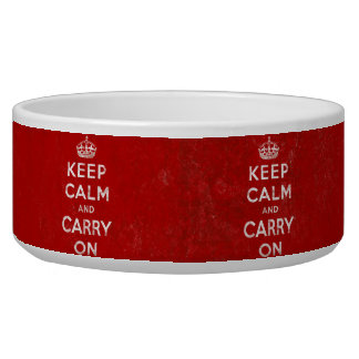 Keep Calm and Carry On, Vintage Red/White Pet Bowls