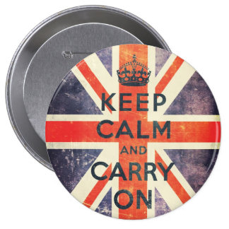 keep calm and carry on vintage Union Jack flag 10 Cm Round Badge