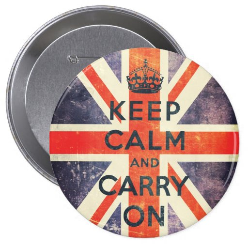 keep calm and carry on vintage Union Jack flag Button