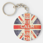 keep calm and carry on vintage Union Jack flag Basic Round Button Key Ring