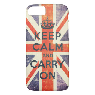 keep calm and carry on vintage Union Jack flag iPhone 8/7 Case
