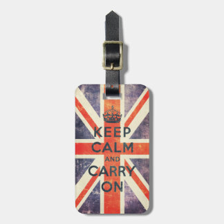 keep calm and carry on vintage Union Jack flag Luggage Tag