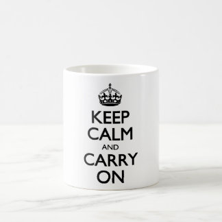 Keep Calm And Carry On White Background Pattern Coffee Mugs