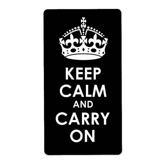 Keep Calm and Carry on White on Black