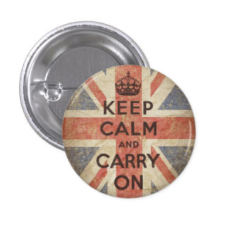 Keep Calm and Carry On with UK Flag 3 Cm Round Badge