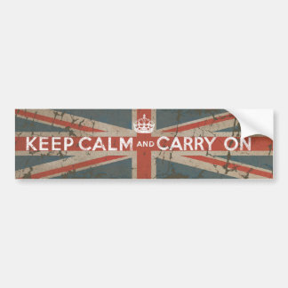 Keep Calm and Carry On with UK Flag Bumper Sticker