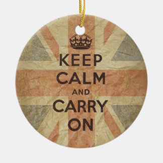 Keep Calm and Carry On with UK Flag Christmas Ornament