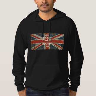 Keep Calm and Carry On with UK  Flag Hoodie