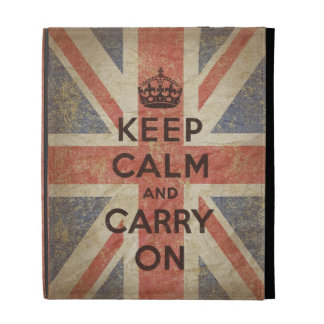 Keep Calm and Carry On with UK  Flag iPad Folio Cover