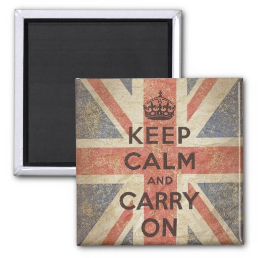 Keep Calm and Carry On with UK Flag Refrigerator Magnet