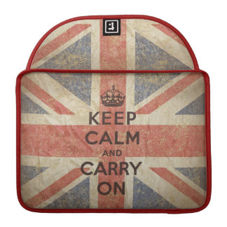 Keep Calm and Carry On with UK Flag. Sleeve For MacBooks