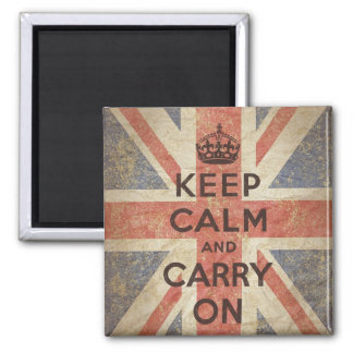 Keep Calm and Carry On with UK Flag Square Magnet