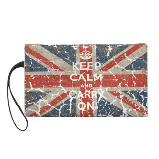 Keep Calm and Carry On with UK  Flag Wristlet