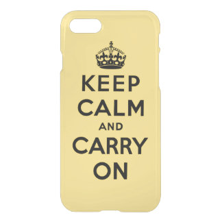 keep calm and carry on - yellow and black iPhone 7 case