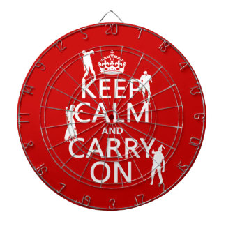Keep Calm and Carry On (zombies) (any color) Dartboard