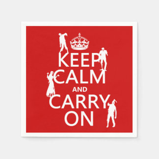 Keep Calm and Carry On (zombies) (any color) Disposable Serviette