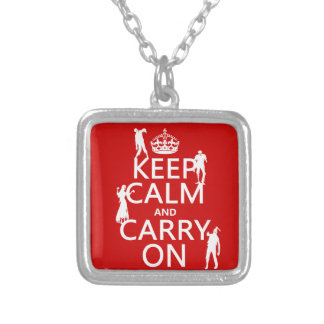 Keep Calm and Carry On (zombies) (any color) Silver Plated Necklace
