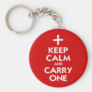Keep Calm and Carry One Basic Round Button Key Ring