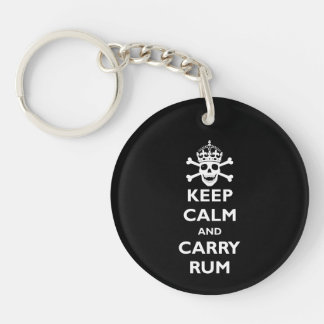 Keep Calm and Carry Rum Single-Sided Round Acrylic Key Ring
