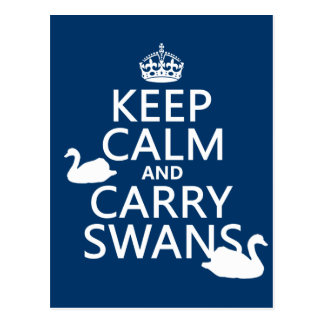 Keep Calm and Carry Swans - all colors Postcard