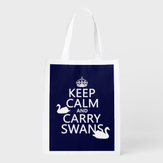 Keep Calm and Carry Swans - all colors Reusable Grocery Bag