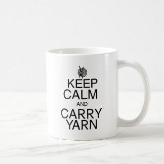 Keep Calm and Carry Yarn Basic White Mug
