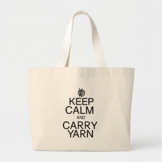 Keep Calm and Carry Yarn Large Tote Bag