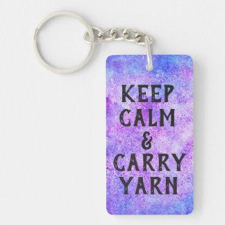 Keep Calm and Carry Yarn Purple Key Ring