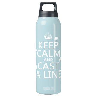 Keep Calm and Cast a Line (customizable colors) Insulated Water Bottle