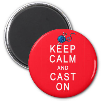 Keep Calm and Cast On Knitting Tshirt or Gift 6 Cm Round Magnet