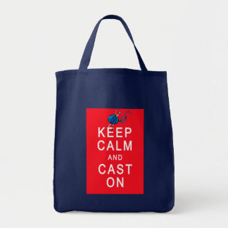Keep Calm and Cast On Knitting Tshirt or Gift Grocery Tote Bag