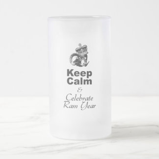 Keep Calm and Celebrate Ram Year 2015 Frosted Glass Beer Mug