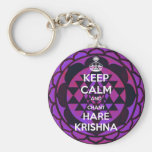 Keep Calm and Chant Hare Krishna Basic Round Button Key Ring