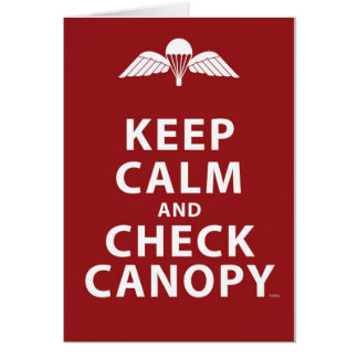 KEEP CALM AND CHECK CANOPY GREETING CARD