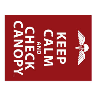 KEEP CALM AND CHECK CANOPY POSTCARD
