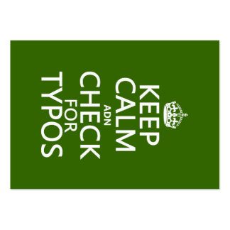 Keep Calm 'and' Check For Typos (in any color) Business Card Templates
