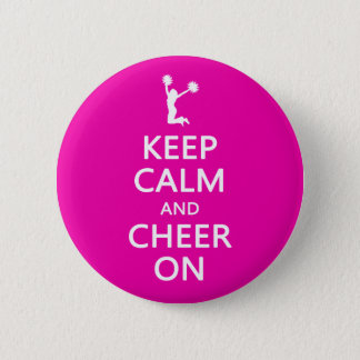 Keep Calm and Cheer On, Cheerleader Pink 6 Cm Round Badge