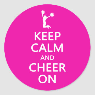 Keep Calm and Cheer On, Cheerleader Pink Classic Round Sticker