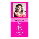 Keep Calm and Cheer On, Cheerleader Pink Photo Card